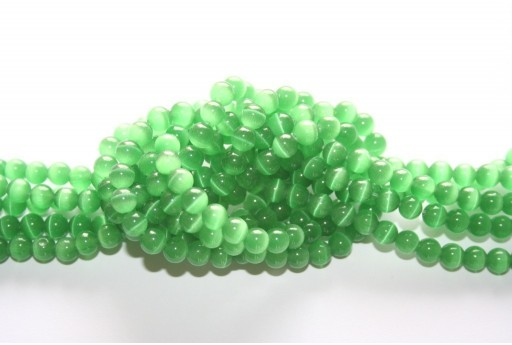 Perline Occhi di Gatto Verde Sfera 6mm - 68pz