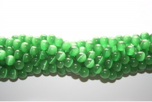 Perline Occhi di Gatto Verde Sfera 8mm - 48pz