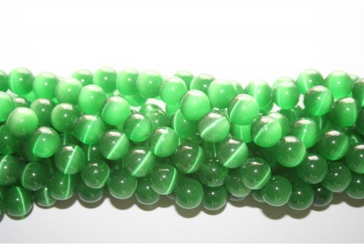 Perline Occhi di Gatto Verde Sfera 10mm - 38pz