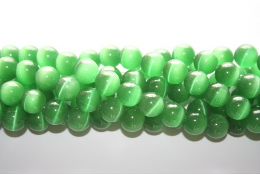 Cat's Eye Beads Sphere Green 12mm - 12pcs