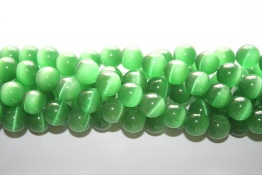 Cat's Eye Beads Sphere Green 12mm - 12pcs