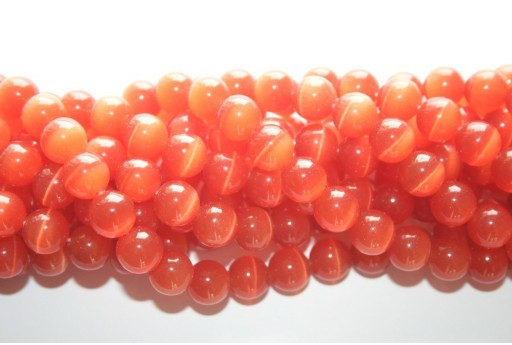 Perline Occhi di Gatto Arancio Sfera 10mm - 38pz