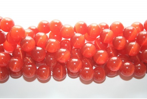 Cat's Eye Beads Sphere Orange 12mm - 12pcs