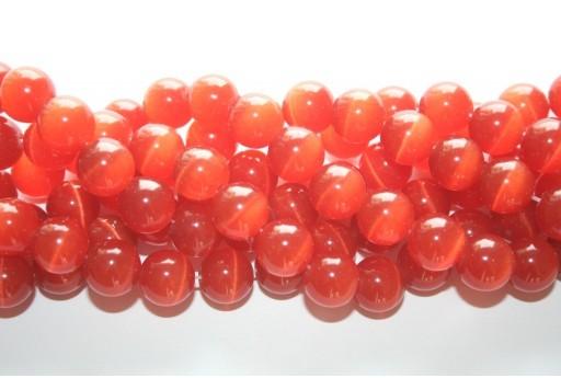 Perline Occhi di Gatto Arancio Sfera 12mm - 12pz