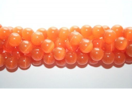 Cat's Eye Beads Sphere Light Orange 12mm - 12pcs