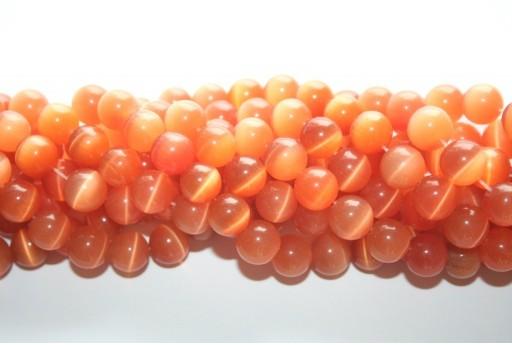 Perline Occhi di Gatto Arancio Chiaro Sfera 10mm - 38pz