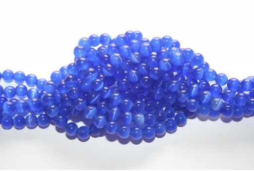 Perline Occhi di Gatto Blue Sfera 6mm - 68pz