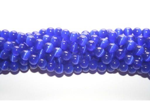 Cat's Eye Beads Sphere Blue 8mm - 48pcs