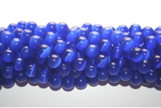 Perline Occhi di Gatto Blue Sfera 10mm - 38pz