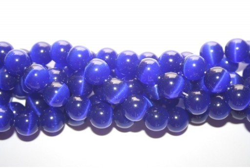 Cat's Eye Beads Sphere Blue 12mm - 12pcs