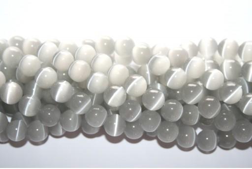 Perline Occhi di Gatto Grigio Sfera 10mm - 38pz