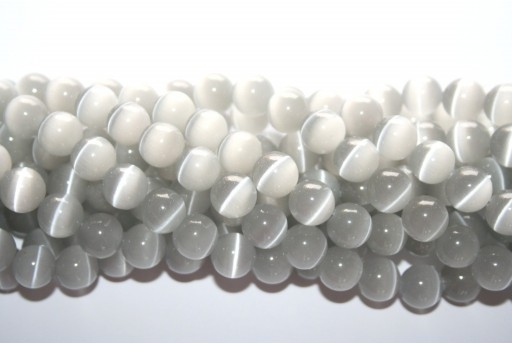 Cat's Eye Beads Sphere Grey 10mm - 38pcs