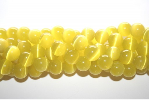 Cat's Eye Beads Sphere Yellow 12mm - 12pcs