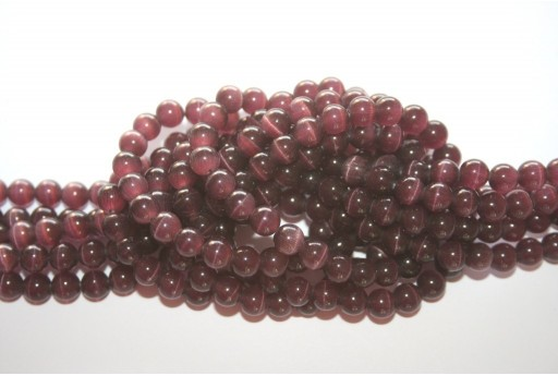 Cat's Eye Beads Sphere Amethyst 6mm - 68pcs
