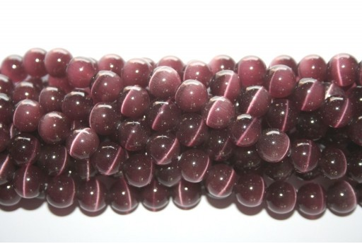 Cat's Eye Beads Sphere Amethyst 10mm - 38pcs