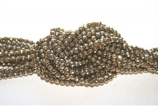 Hematite Ball Faceted Beads Golden 4mm - 98pz