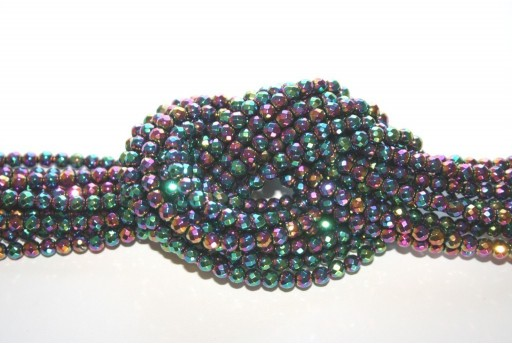 Hematite Ball Faceted Beads Multicolor 4mm - 98pz
