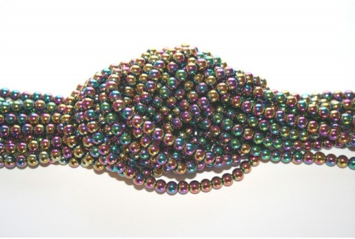 Filo Pietre Dure Hematite Sfera Multicolor 4mm - 98pz