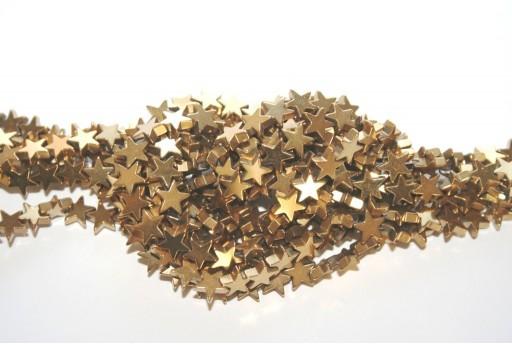 Hematite Golden Star Beads 8x8mm - 60pcs