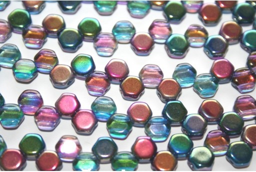 Perline HoneyComb Magic Blue-Pink 6mm - 30pz
