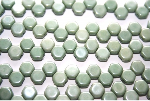 HoneyComb Beads Chalk Green Luster 6mm - 30pcs