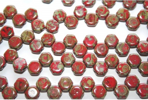 HoneyComb Beads Red Travertine 6mm - 30pcs