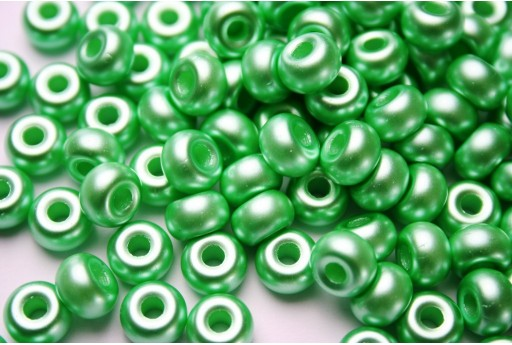 Donut Beads Gold Green 9mm - 20pcs