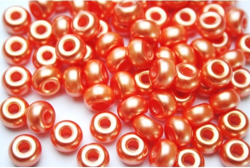Donut Beads Orange Red 9mm - 20pcs