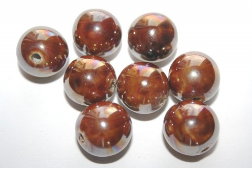 Ceramic Beads Round Brown 16mm - 3pz