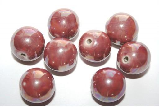 Ceramic Beads Round Antique Pink 16mm - 3pz