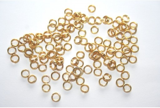 Iron Doble Loops Jump Rings Gold 4mm - 10gr