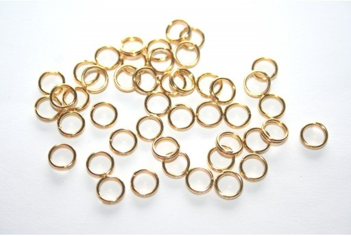 Iron Doble Loops Jump Rings Gold 6mm - 10gr