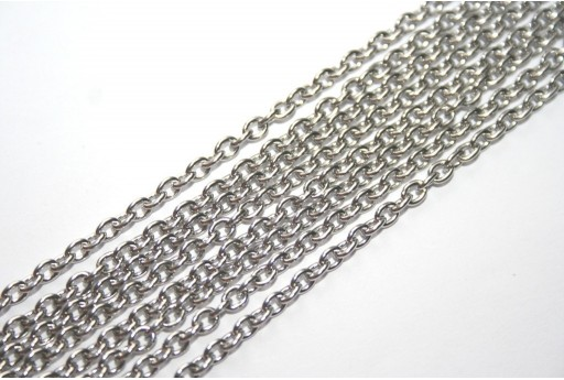 Platinum Plated Steel Chain Oval 4x3mm - 1mt