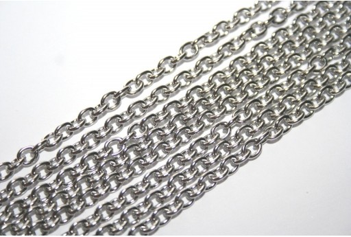 Platinum Plated Steel Chain Oval 5x4mm - 1mt