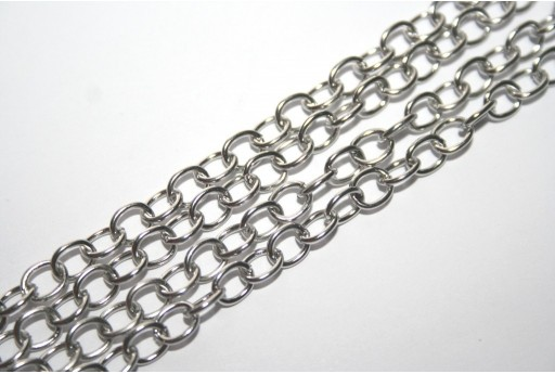Platinum Plated Steel Chain Oval 6,5x5mm - 1mt