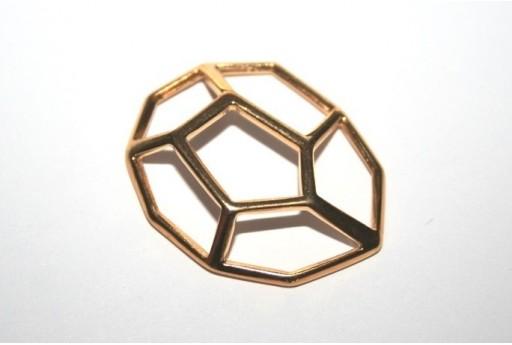 Componente Metallo 3D Colore Oro 32x25mm- 1pz