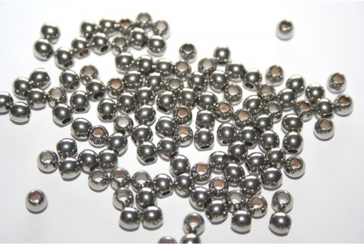 Round Stainless Steel Spacer Beads 4mm - 4pcs