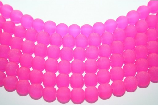 Glass Round Bead Strand Fuchsia 8mm - 52pz