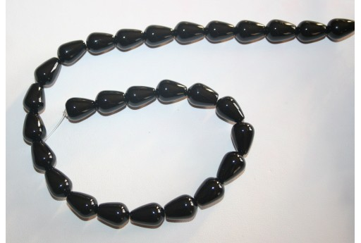 Black Onyx Drop Beads 10x14mm - 3pcs