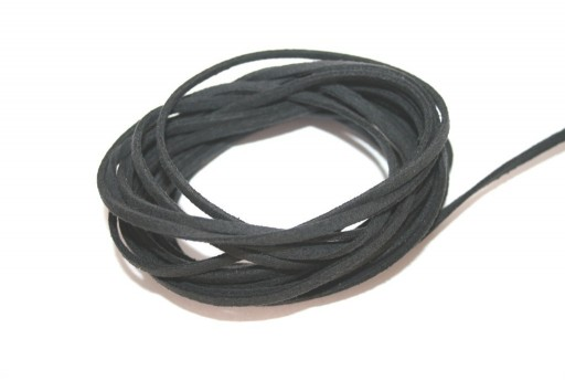 Suede Alcantara Cord Dark Grey 3x1,5mm - 2m