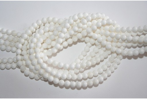 Shell White Round Bead Strand 90pz 4mm SH19