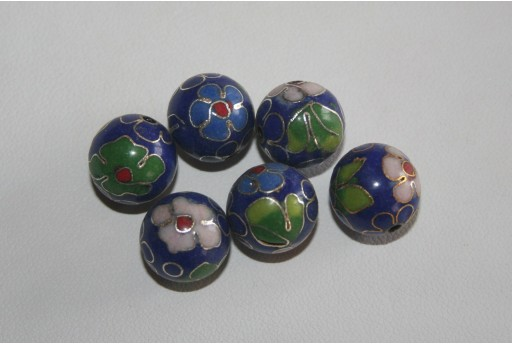 Perlina Cloisonne Blue Sfera 12mm CL1