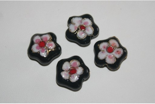 Metal Beads Black Flower 16mm - 2pz