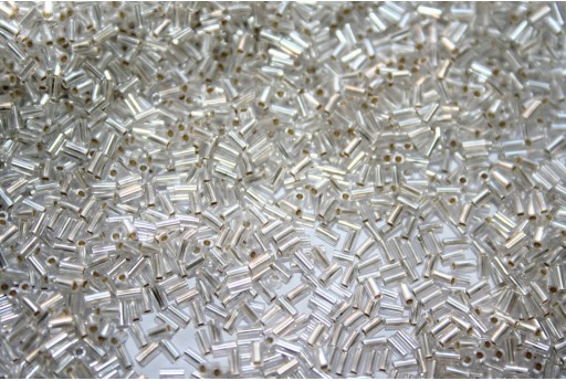 Toho Bugle Beads Silver Lined Frosted Crystal 3mm - 10gr