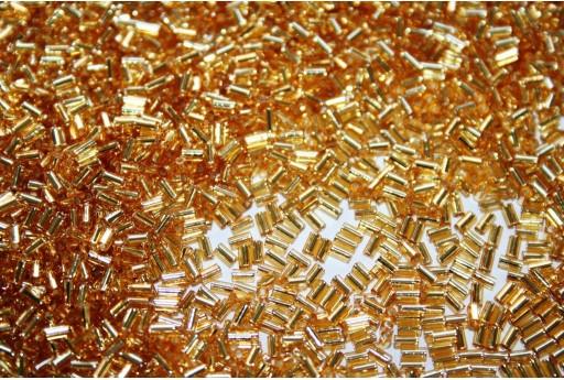 Toho Bugle Silver Lined Med Topaz 3mm - 10gr