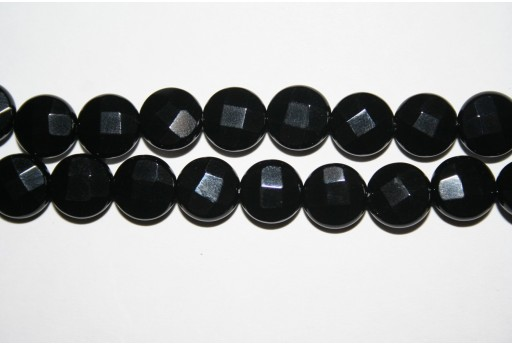 Black Onyx Faceted Lentil Beads 10mm - 4pcs