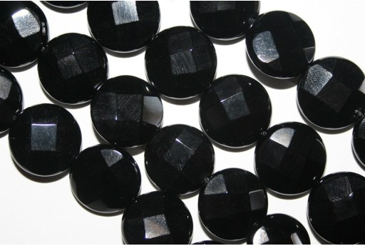 Black Onyx Faceted Lentil Bead Strand 16mm - 24pcs