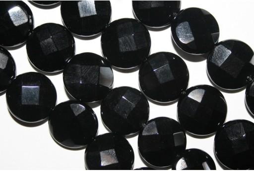 Filo 24 Pietre Onice Nero Pasticca Sfaccettata 16mm