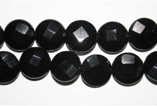 Black Onyx Faceted Lentil Beads 16mm - 2pcs
