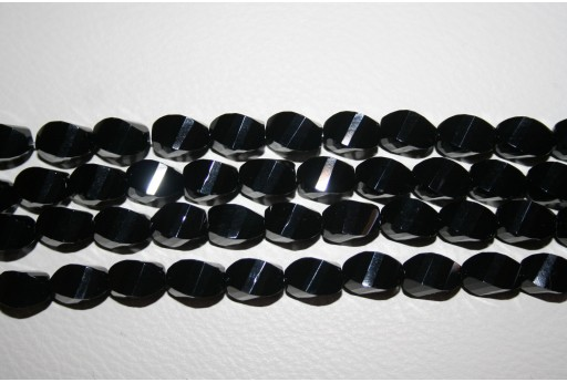 Onyx Oval Faceted Twist Bead Strand 8x16mm - 25pcs